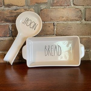 Rae Dunn -BREAD- Loafpan & -SPOON- Spoon Rest